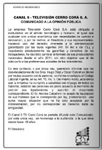 Comunicado Canal 9