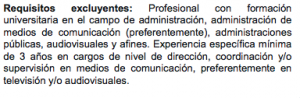 Requisitos Director Tv Pública