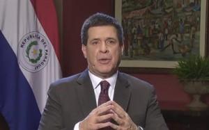 El Presidente Cartes dio mensaje a través de la tv Foto: Video Youtube