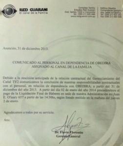 Comunicado de Red Guarani Fuente: Abc Digital