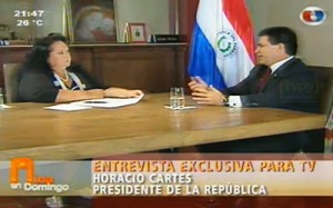 Mina Feliciángeli entrevistó al Presidente Horacio Cartes Foto: Captura de pantalla